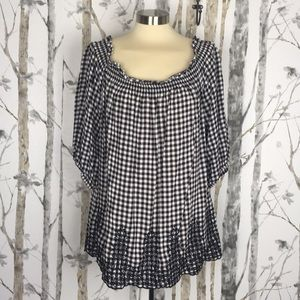 Cynthia Rowley Off the Shoulder Gingham Top 1X